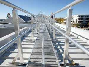 walkway with guardrail