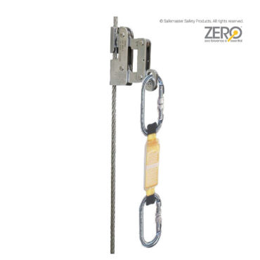 cable fall arrester with shock absorber