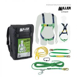 M1070033 miller roofer's backpack kit with kernmantle rope and lanyard