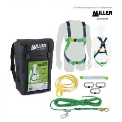 1070030 miller roofer's backpack kit with kernmantle rope and shock pack
